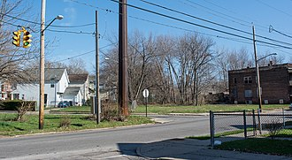 Glenville shootout - Now-empty lot at the intersection of Auburndale Ave. and Lakeview Rd., where the Ahmed Evans house and Lakeview Tavern once stood.