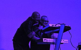 Leæther Strip - Leæther Strip live at the E-tropolis Festival 2013, Berlin: Claus Larsen and his husband Kurt Grünewald Hansen at the keyboards
