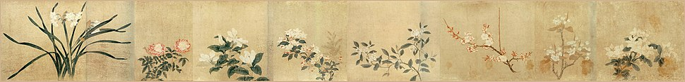 Eight Flowers, a painting by artist Qian Xuan, 13th century, Palace Museum, Beijing.