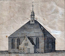 A worn illustration of a building with a tall peaked roof topped with a cupola