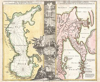 Johann Homann - Image: 1725 Homann Map of the Caspian Sea and Kamchatka (as Yedso) Geographicus Caspian Kamchatka homann 1725