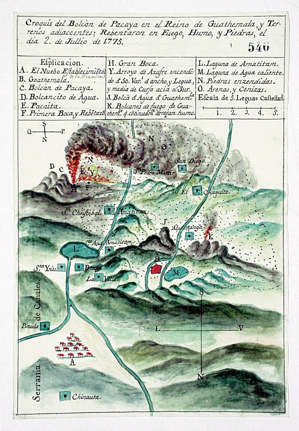 1775 volcan Pacaya Guatemala