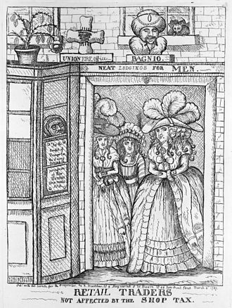 A political cartoon from 1787 jesting about the notion of taxation affecting prostitutes 1787-prostitutes-caricature.jpg