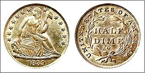 United States Seated Liberty coinage - Liberty Seated half dime with New Orleans mintmark.