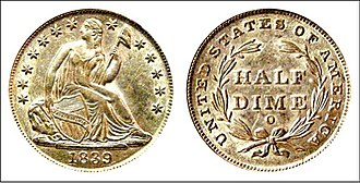 United States Seated Liberty coinage - 1839-O Liberty Seated half dime with New Orleans mintmark.