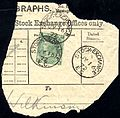 1872 Stock Exchange Forgery 1s green Pl. 5 lett FK on part telegraph form.jpg