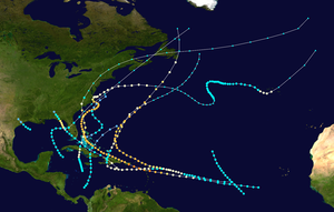 1899 Atlantic hurricane season - Image: 1899 Atlantic hurricane season summary map