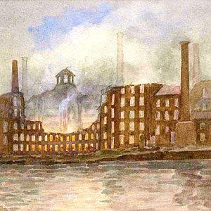 Derby Silk Mill - Watercolour by Alfred John Keene of the 1910 fire.