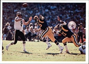 1980 NFL season - Archie Manning attempting a pass for the New Orleans Saints against the L.A. Rams in 1980.