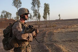 1st Battalion, 2nd Marines - Marines and Sailors with Bravo Company, 1st Bn, 2nd Marines, conduct a security patrol near Camp Leatherneck in Helmand province, Afghanistan, August 23, 2014.