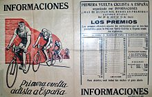 Il quotidiano Informaciones con la presentazione della prima edizione della Vuelta a España