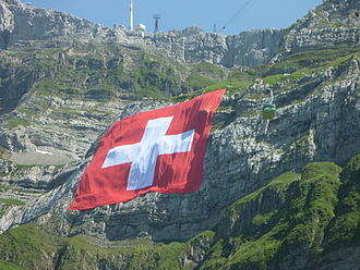 Säntis - Swiss flag on Säntis