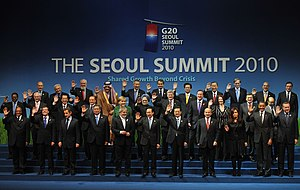 "Foreign relations of South Korea - Participants of the 2010 G-20 Seoul summit gather for a conventional ""family photo""."