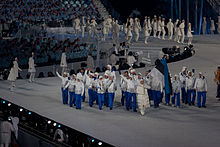Estonian delegation in 2010 Winter Olympics, opening ceremony white jackets and blue trousers