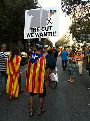 2012 Catalan independence demonstration - Protesters going to the march