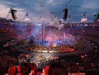 "2012 Summer Olympics opening ceremony - The ""Pandemonium"" segment, during the final rehearsal of the ceremony on 25 July"