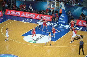 Turkey women's national basketball team - Turkey (white kit) vs. Serbia at the 2014 FIBA World Championship for Women.