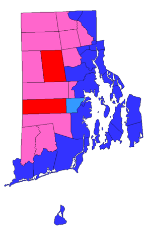 United States presidential election in Rhode Island, 2016 - The pink municipalities voted for Barack Obama in 2012 and flipped to Donald Trump in 2016. Only East Greenwich voted for Mitt Romney in 2012 but flipped to Hillary Clinton in 2016. Dark blue and dark red municipalities did not flip from 2012 to 2016.