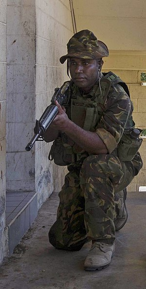 Papua New Guinea Defence Force - A PNGDF soldier in Kumul uniform with a M16 rifle