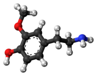 Ball-and-stick model of the 3-methoxytyramine molecule