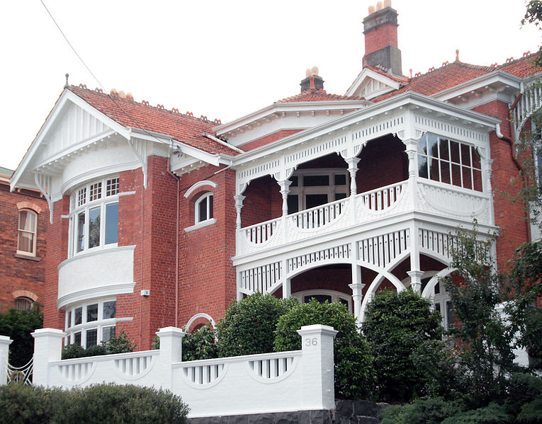 36 Lyttleton Street East Launceston Tasmania; heritage named 'Victoria League House' built in 1905 by J. & T. Gunn and then known as 'The Manor House', the private residence of Cyril Perrin, a leading Launceston businessman. THR ID #4445