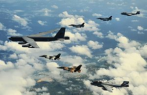 36th Wing - A B-52 Stratofortress deployed to Andersen AFB leads a formation of Japanese Mitsubishi F-2s, USAF F-16s and Navy EA-6B Prowlers
