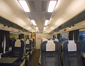 British Rail Class 442 - The interior of relocated and refurbished First Class section