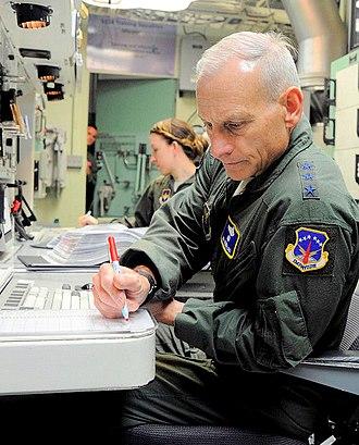 532d Training Squadron - Lt. Gen. James Kowalski, Air Force Global Strike Command commander, runs through a procedural checklist during a launch simulation at the 532nd Training Squadron test simulator