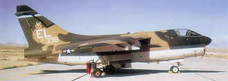 23rd Wing - Ling-Temco-Vought A-7D-11-CV Corsair II, AF Serial No. 71-0338 of the 75th Tactical Fighter Squadron, taken in May 1973. A-7D attack aircraft were assigned to the 23rd TFW from 1972 through 1981