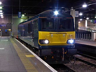British Rail Class 92 - Caledonian Sleeper 92014 at London Euston in March 2017.