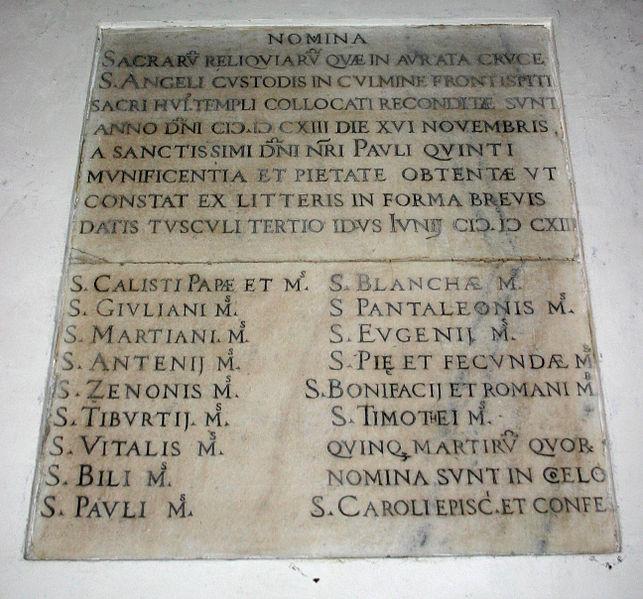 File:9403 - Milano - S. Angelo - Elenco reliquie - Foto Giovanni Dall'Orto 22-Apr-2007.jpg