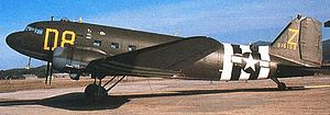 RAF Balderton - Douglas C-47A-80-DL Serial 43-15159 of the 94th Troop Carrier Squadron in Normandy Invasion Markings.
