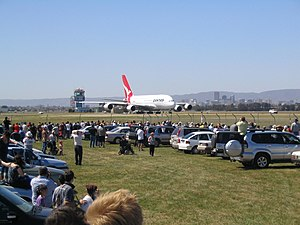 Adelaide Airport - A large crowd watches Qantas A380 VH-OQA visit Adelaide, 27 September 2008