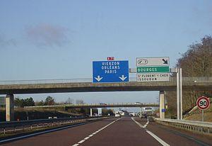 A71 autoroute - Exit 7 towards Paris in December 2009.
