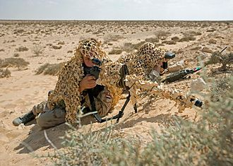 Laser rangefinder - A Dutch ISAF sniper team displaying their Accuracy International AWSM .338 Lapua Magnum rifle and VECTOR IV Leica/Vectronix laser rangefinder binoculars