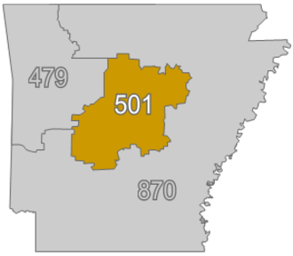 Area code 501 - Area code 501 as of post 2002.