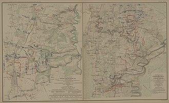 Battle of Fisher's Hill - Side by side atlas maps of the Battles of Fisher's Hill and Cedar Creek