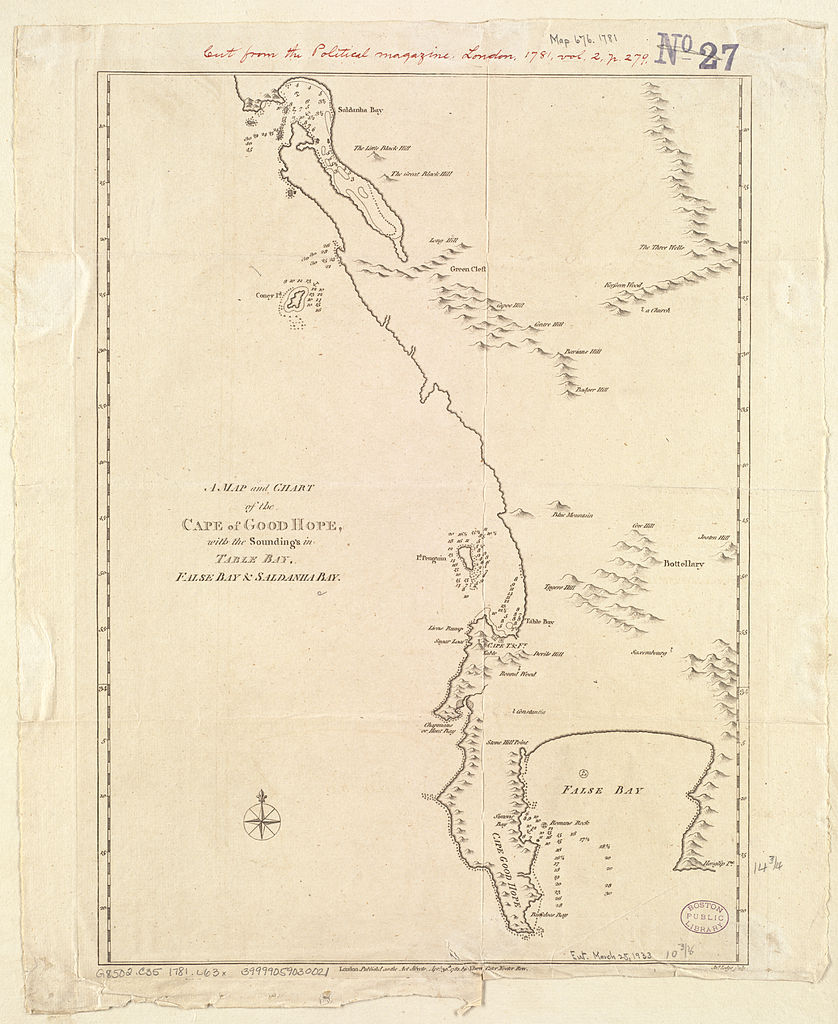 File:A Map and chart of the Cape of Good Hope, with the soundings in ...