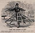 A man is skating on a frozen lake with a large cage around h Wellcome V0040594EL.jpg