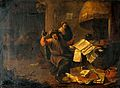 A physician-alchemist examining a urine flask. Oil painting Wellcome V0017285.jpg