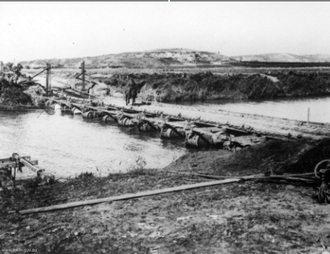 Battle of Jaffa (1917) - Pontoon bridge built by British engineers