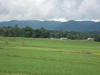 Jampui Hills - View of the Jampui Hills in the East from the plains of Kanchanpur.