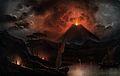 A volcano (Mount Etna?) erupting at night. Coloured aquatint Wellcome V0025184.jpg