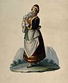 A wet-nurse dressed in Neapolitan costume holding a baby. Wa Wellcome V0015100.jpg