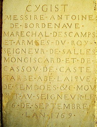 Lay Abbey - Tombstone of Saint-Boès (64) showing the name of a Lay Abbey