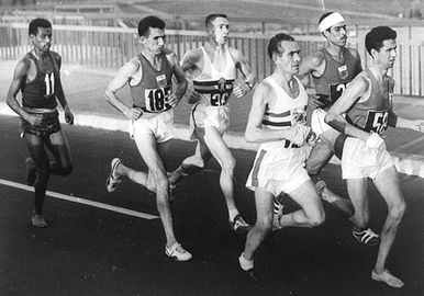 The 1960 Olympic marathon's lead pack, near the 10 km (6 mi) mark