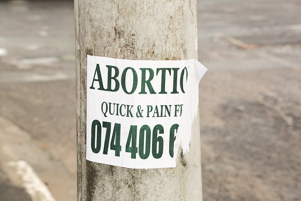Abortion Quick & Pain Free sign, Joe Slovo Park, Cape Town, South Africa-3869