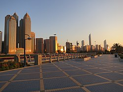 Abu Dhabi skyline at sunset.  Image: FritzDaCat.