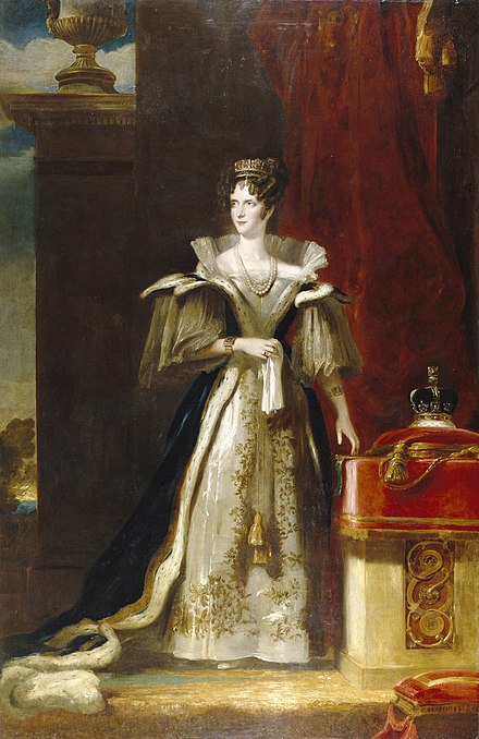 Portrait of Queen Adelaide painted by John Simpson in 1832 Adelaide of Saxe-Meiningen.jpg