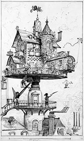 black and white drawing of small house of complex design raised above the surrounding buildings on a turntable